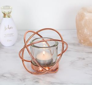 Copper Geometric Tea Light Candle Holder - dining room
