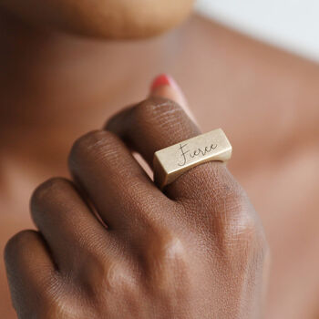 Personalised Brushed Bar Signet Ring In Gold
