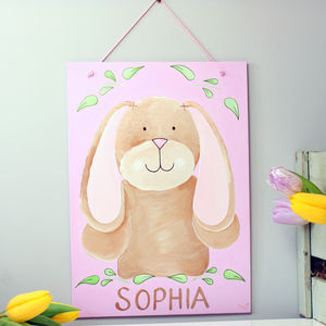Personalised Bunny Canvas Nursery Wall Art