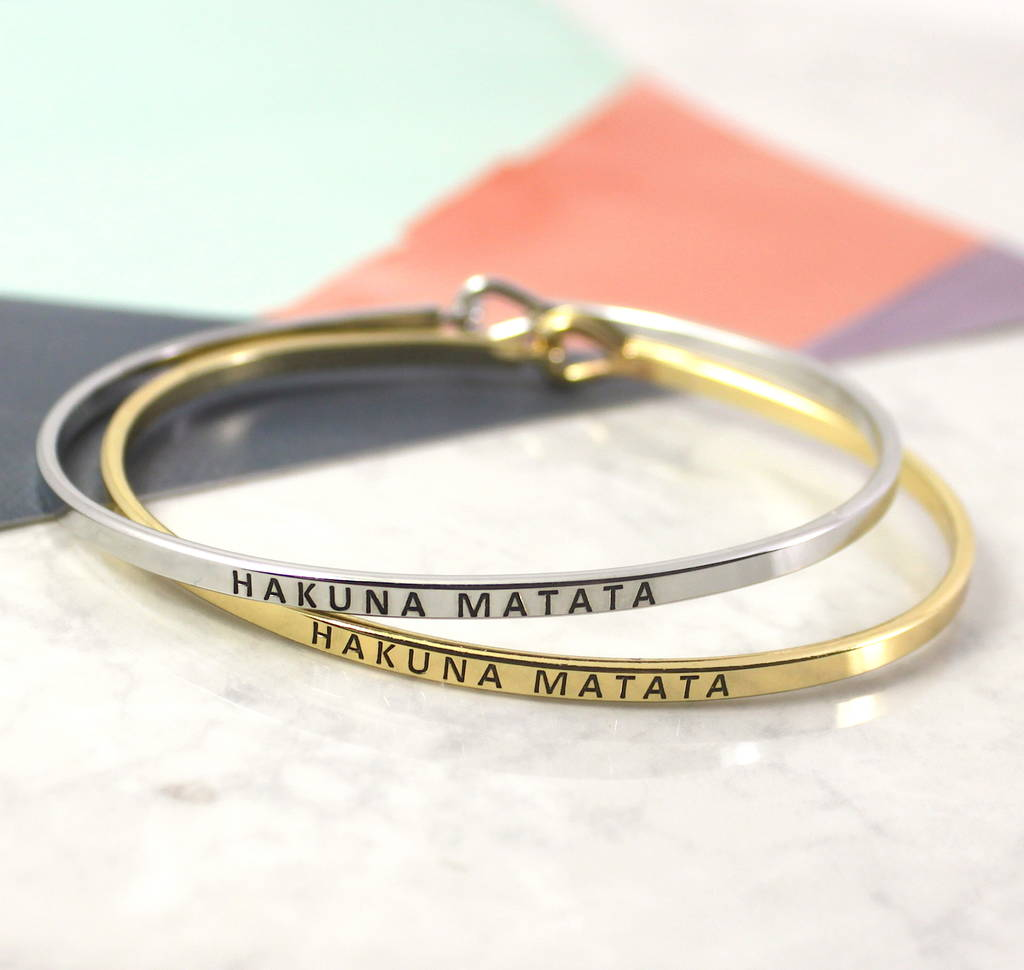 Hakuna Matata Engraved Message Stacking Cuff Bangle