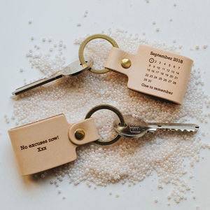 Personalised Never Forget Date Leather Keyring