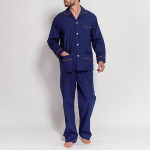 Men's Pyjamas Navy Blue With Orange Motif