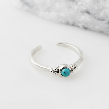 Holi Jewel Midi or Toe Stacking Ring - Turquoise