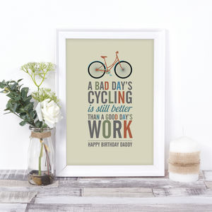 Personalised Cycling Quote Print