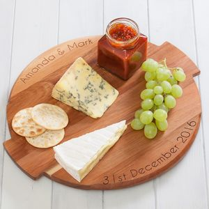 Personalised Acacia Wood Lazy Susan Turntable - cheese boards & knives
