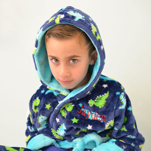 Personalised Soft Dinosaur Pattern Dressing Gown