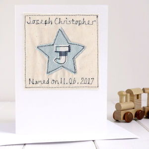 Personalised Boy's Naming Day Card - christening cards