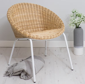 Wicker Tub Chair With Metal Legs - furniture