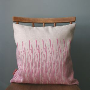 Hand Printed Grasses Print Linen Cushion Cover - living room