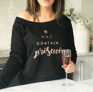 'May Contain Prosecco' Ladies Rose Gold Jumper - christmas jumpers