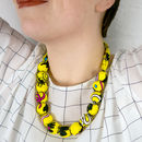 Chunky, Fabric Covered, Bead Necklace 'Memphis'