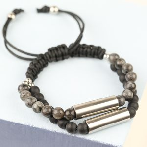 Men's Stone And Double Stainless Steel Tube Bracelet - bracelets