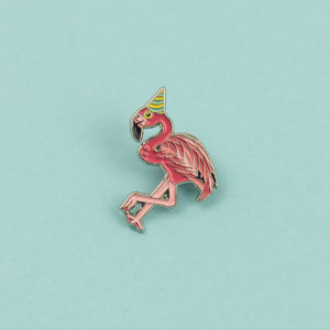 Flamingo In A Party Hat Enamel Pin Badge
