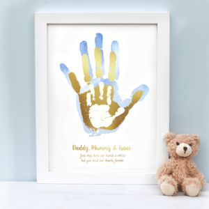 Personalised Daddy Mummy And Child's Handprint Print - new in prints & art