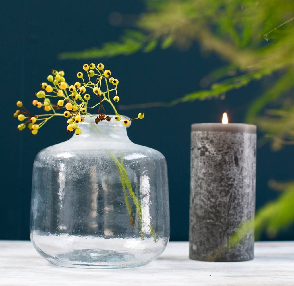 Frosted Recycled Glass Stem Vase