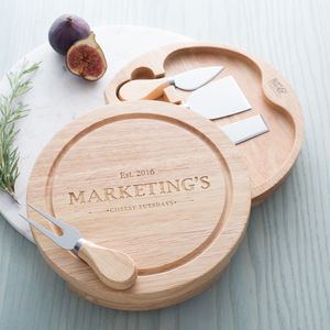 Personalised Vintage Inspired Cheese Board Set - 5th anniversary: wood
