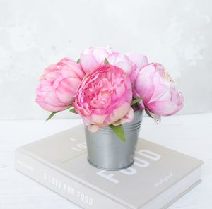 Bouquet Of Peonys In Metal Vase - home accessories