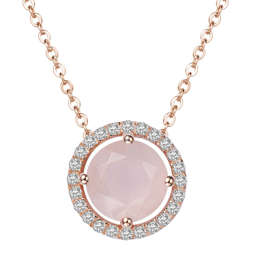 Well-liked rose gold royal rose quartz necklace by h.azeem london  PQ84