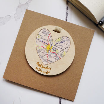 Personalised 'Best Teacher In The World' Map Card