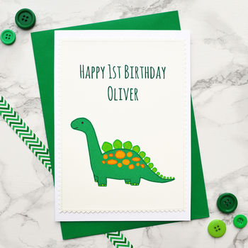 'Dinosaur' Handmade Boys 1st Birthday Card