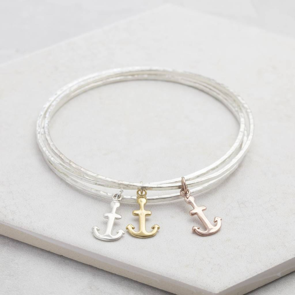gold collections bellaryann anchor bangles charm bracelet expandable in matte pineapple products bracelets bangle rose