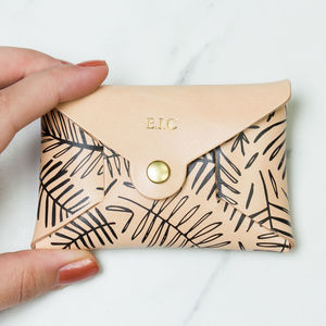 Personalised Leaf Print Leather Coin Purse - purses & wallets