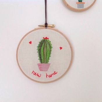 New Home Cactus Embroidered Wall Hoop