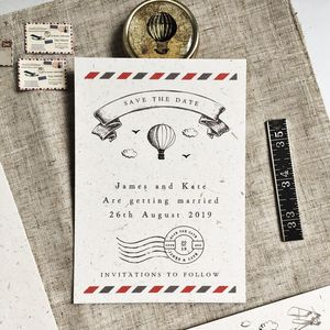 Vintage Travel Wedding Stationery Set - save the date cards