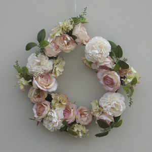 Peach And Cream Rose Wreath - flowers, plants & vases