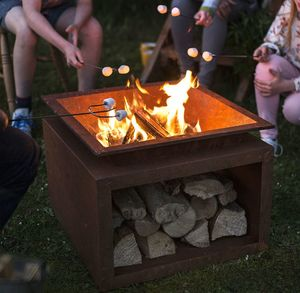 Oxidised Cast Iron Fire Pit With Steel Stand