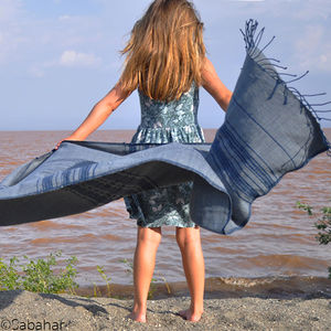 Soft And Subtle Hand Woven Cotton Shawl/Sarong - swimwear & beachwear