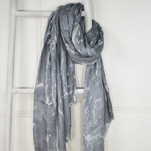Graphite Grey Marble Print Wool Silk Blend Scarf - pashminas & wraps