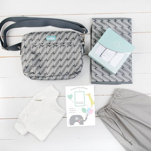 New Baby Shower Grey Muslin And Pouch Set - baby shower gifts