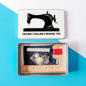 Personalised Retro Sewing Tin With Mini Sewing Kit - creative kits & experiences