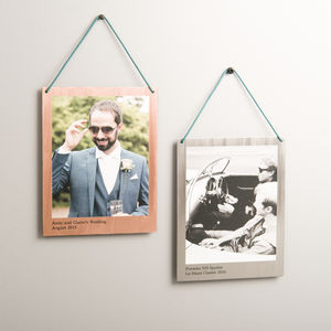 Personalised Hanging Copper And Steel Polaroid Print