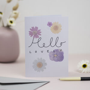 'Hello Lovely' Pressed Flower Design Greetings Card