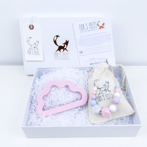 Mumma And Me Pink Cloud Gift Set - teethers
