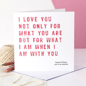 Personalised Valentine Card; I Love You