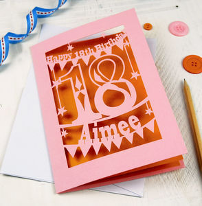 Personalised Papercut 18th Birthday Card - birthday cards