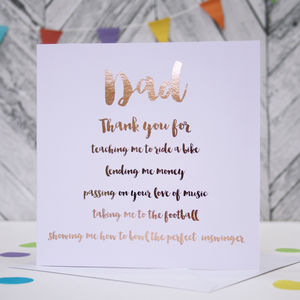 Personalised Thank You Father's Day Card