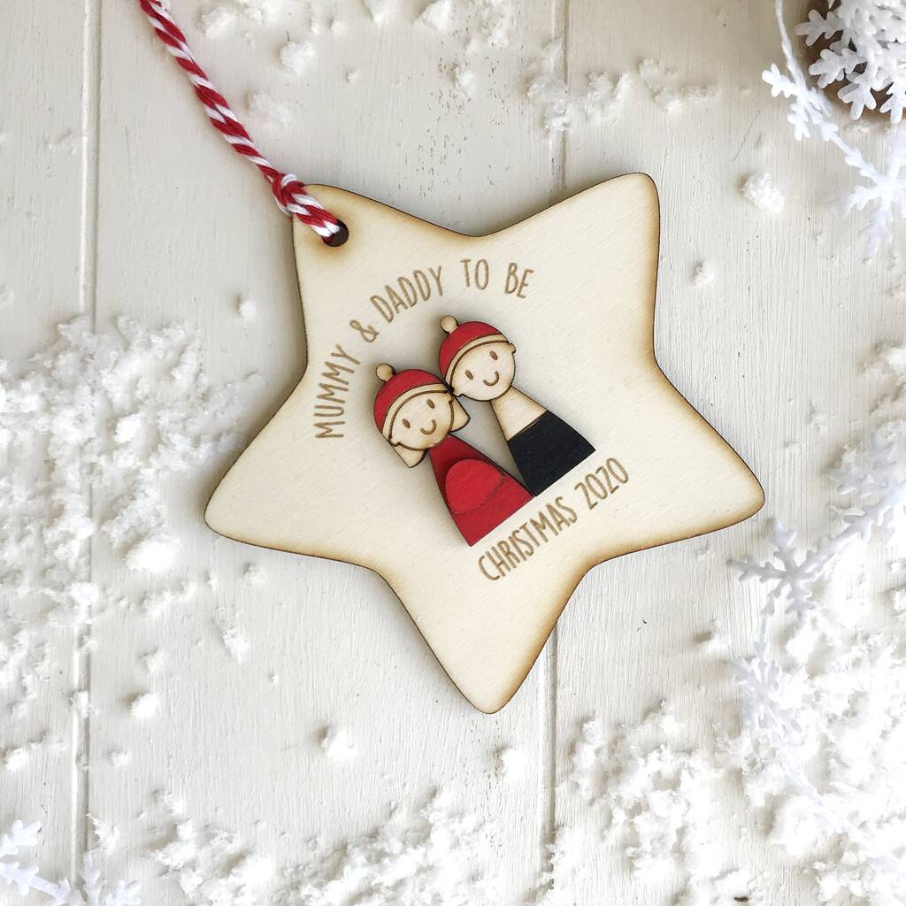 Personalised Mummy And Daddy To Be Christmas Decoration By ...
