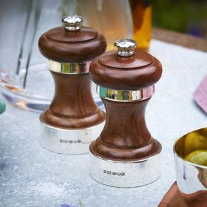 Silver And Walnut Peugeot Peppermill - salt & pepper pots