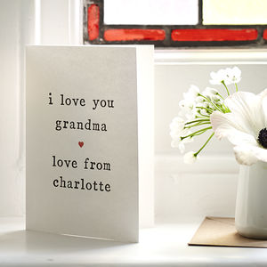 Personalised 'Love You' Grandmother Mother's Day Card