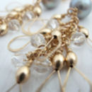 Long grey pearl crystal and gold earrings
