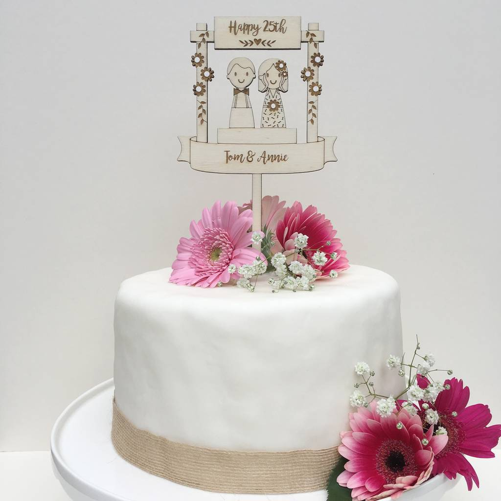 personalised wooden wedding anniversary cake topper by ...