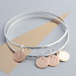 Silver And Rose Gold Initial Bangle - new in jewellery