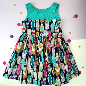 Girls Feather Print Party Dress - dresses