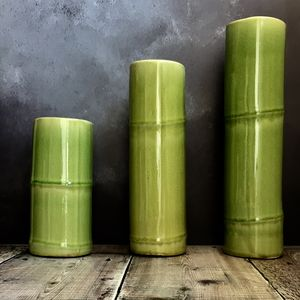 Green Bamboo Vase - table decoration