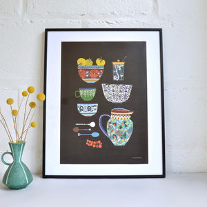 Colourful 'Kitchen Study' A3 Print