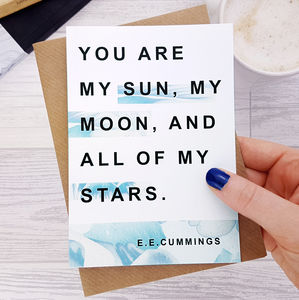 Anniversary Card 'My Sun, My Moon' E.E. Cummings Quote - wedding cards